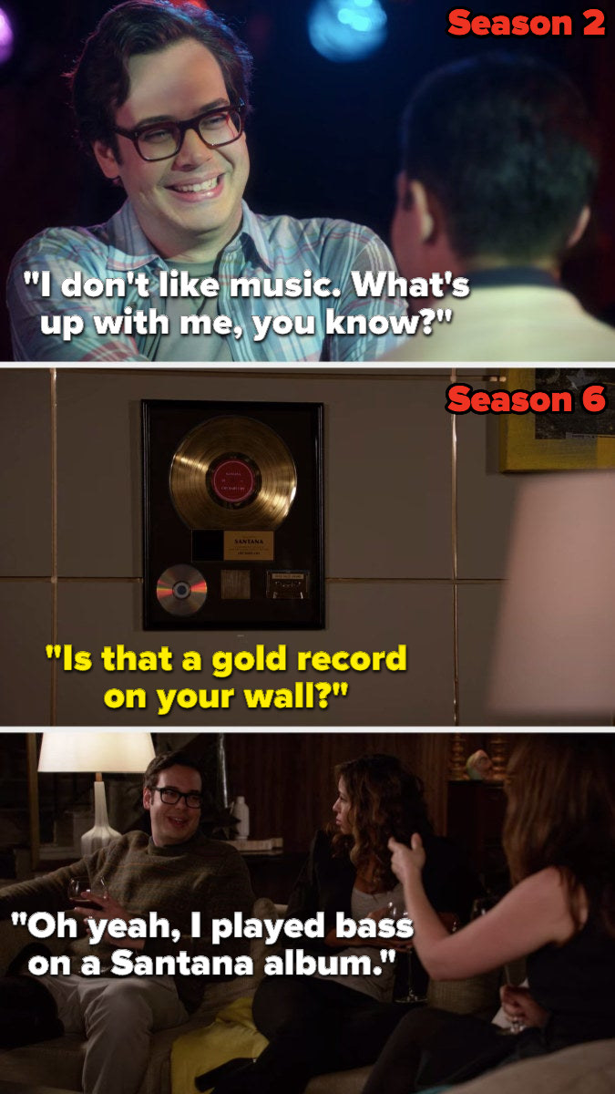 """In Season 2, Robby says, """"I don't like music, what's up with me, you know,"""" then in season 6, Jess asks him, """"Is that a gold record on your wall,"""" and he says, """"Oh yeah, I played bass on a Santana album"""""""