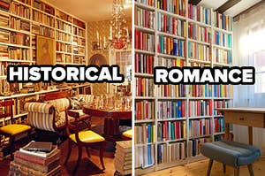 """Two libraries are shown with one on the left labeled, """"Historical"""" and on the right labeled, """"Romance"""""""
