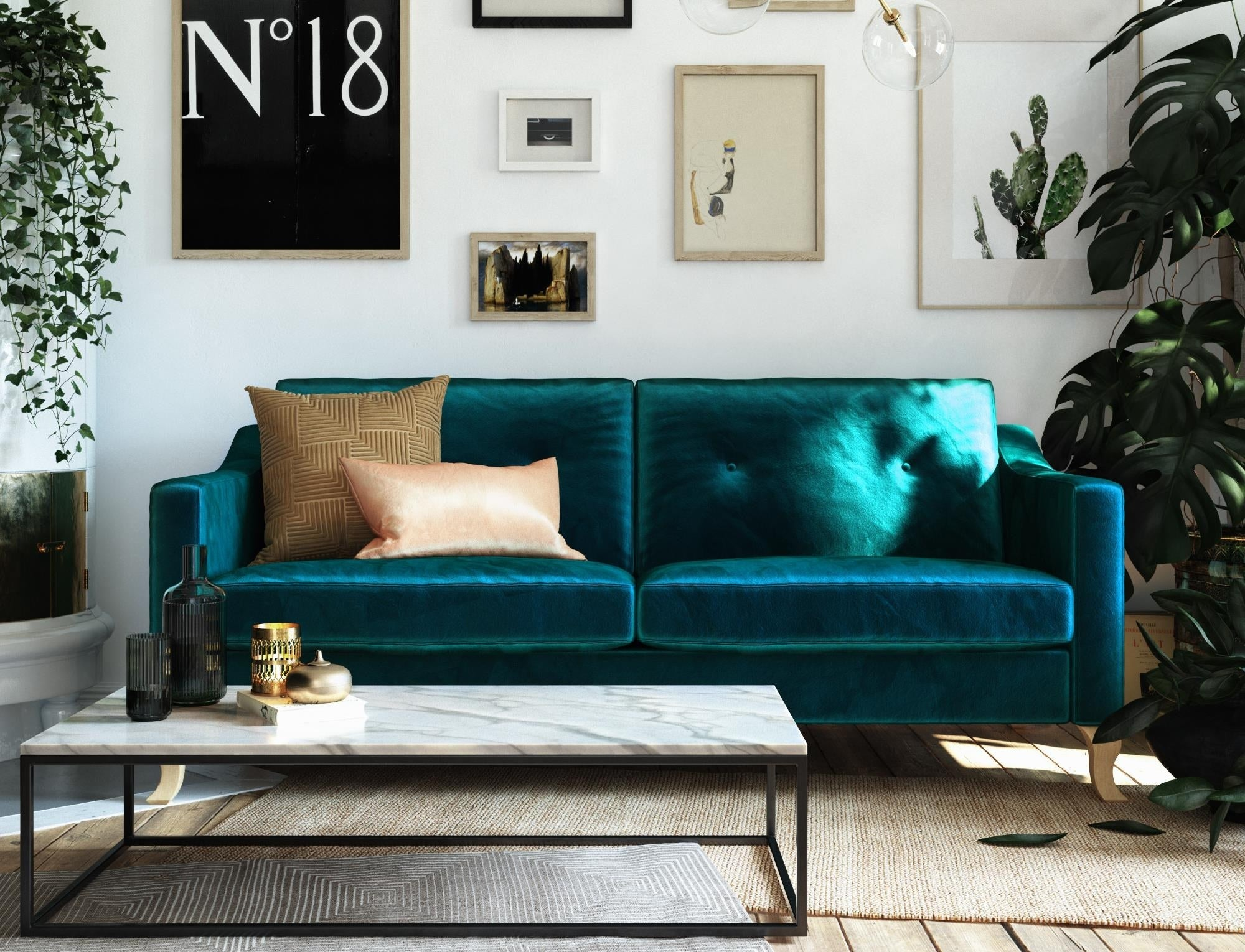 The green velvet couch with sloped arms in a living room