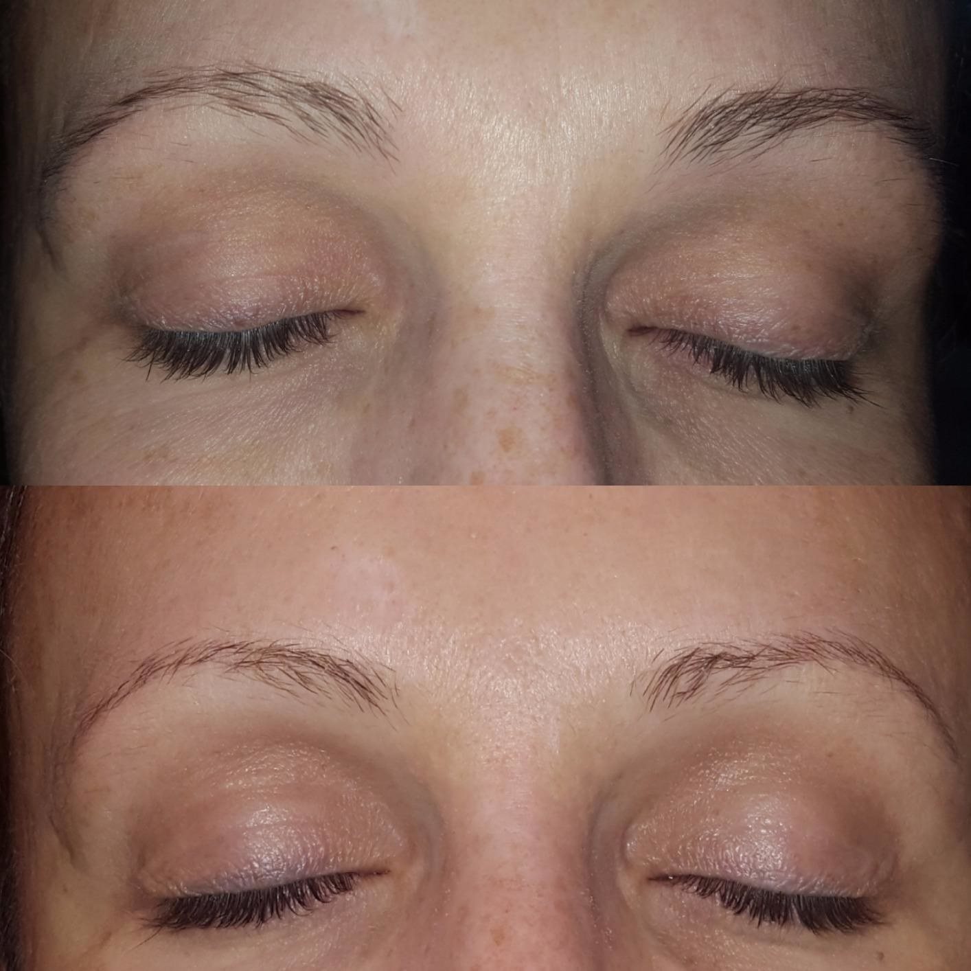 a before and after of lashes that are dark and long