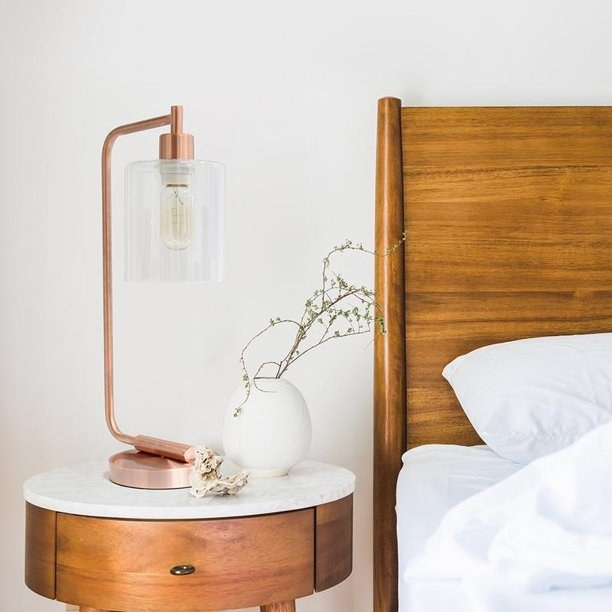 rose gold table lamp with glass lampshade