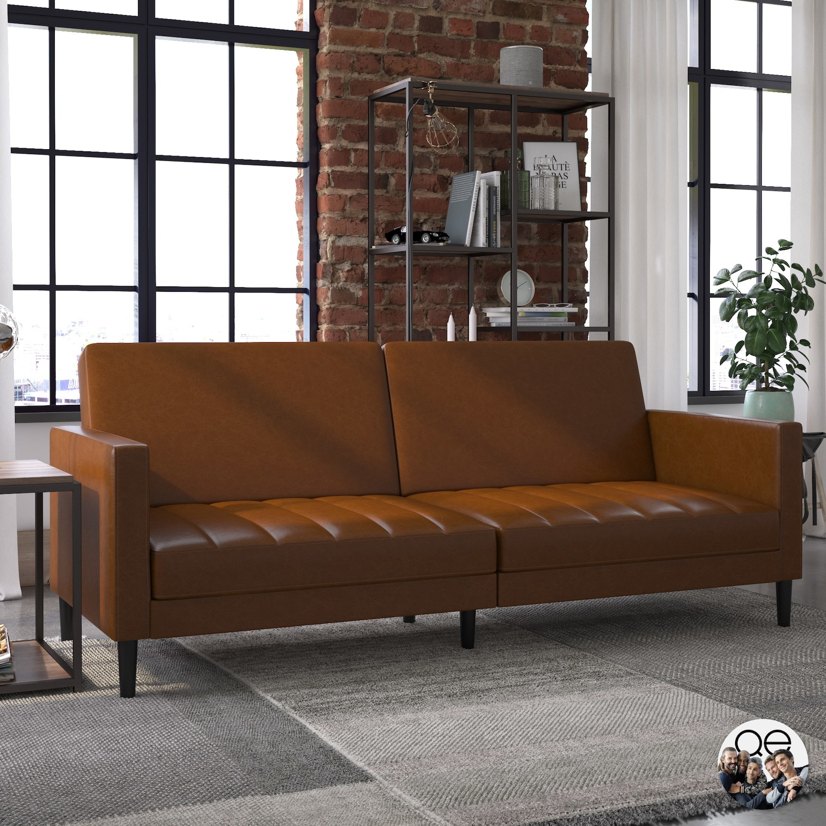 The brown sofa with a textured bottom cushion