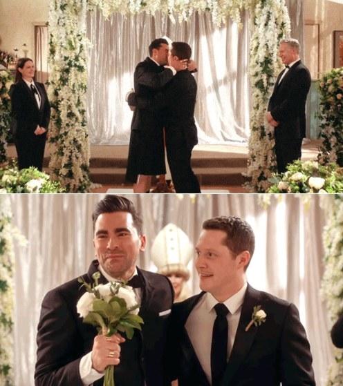 David and Patrick kiss at the altar and walk down the aisle