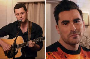 Patrick holds a guitar and sings into a mic while David looks at him with tears in his eyes on Schitt's Creek