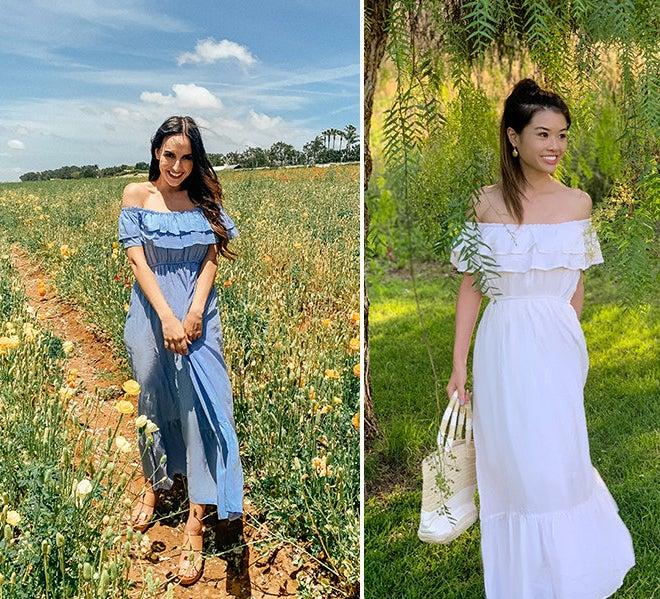 Two people wearing the dress in fields