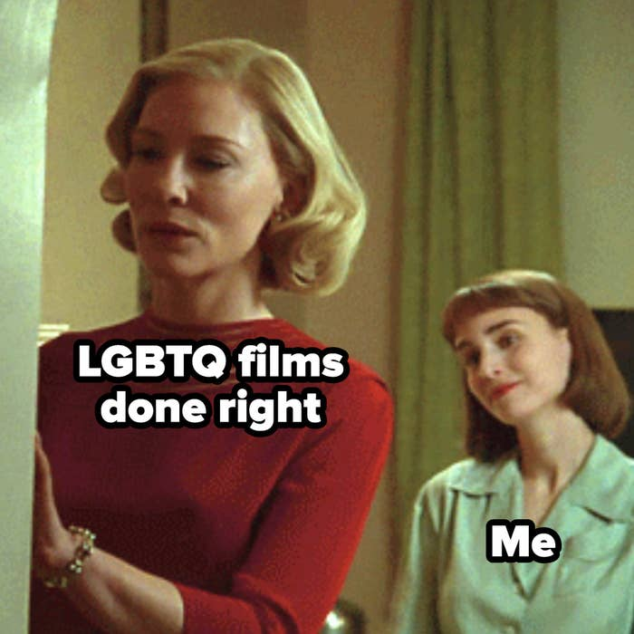 """A woman labeled """"LGBTQ films done right"""" stands in the foreground, while in the background, a woman labeled """"Me"""" looks at her lovingly"""