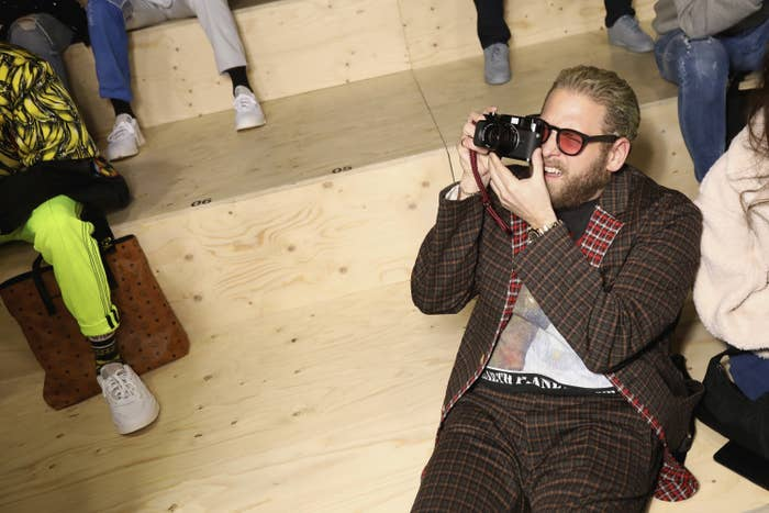 Jonah Hill attend the adidas MakerLab show as part of Paris Fashion Week on January 18, 2019 in Paris, France