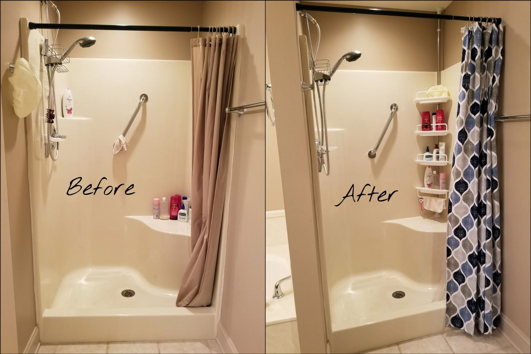 Reviewer's before-and-after results showing organized bathroom after using shelving unit