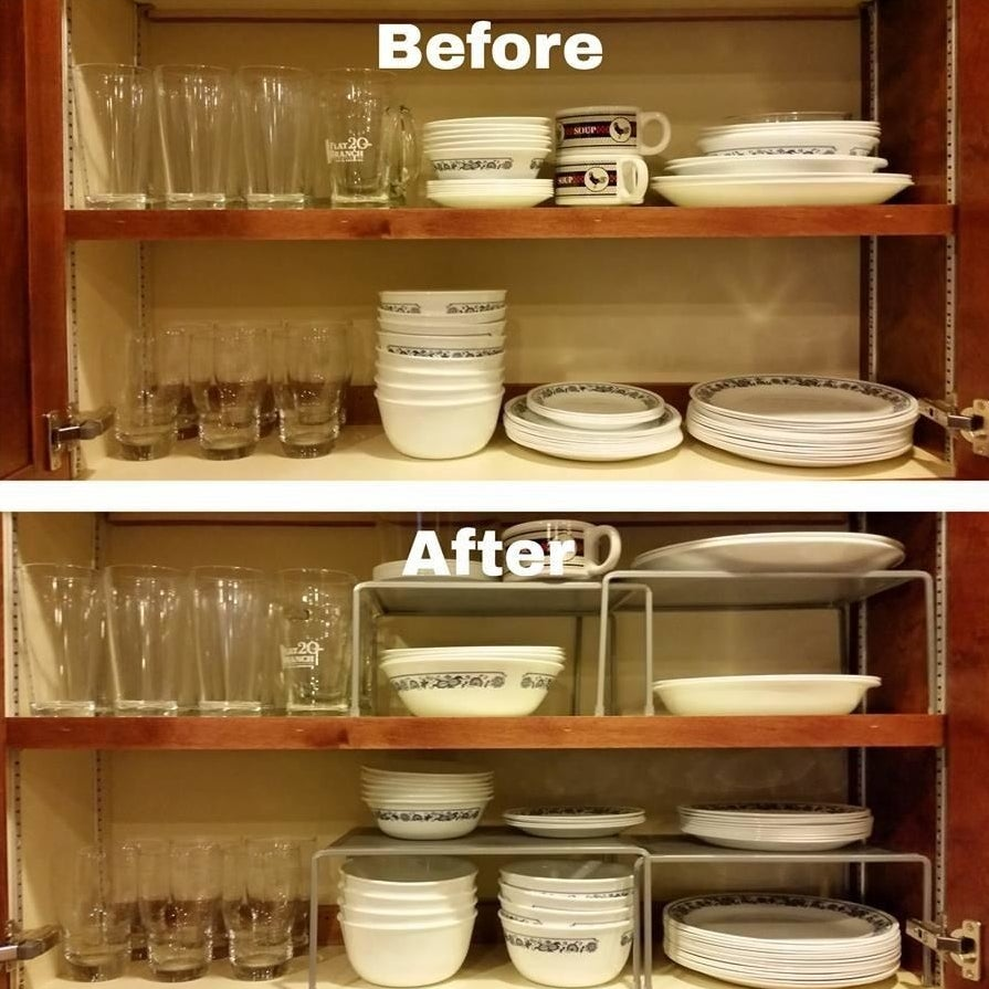 Reviewer's before-and-after results showing how expandable shelves help organize cabinets