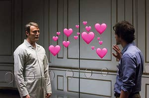 Hannibal and Will Graham looking into each other's eyes intensely