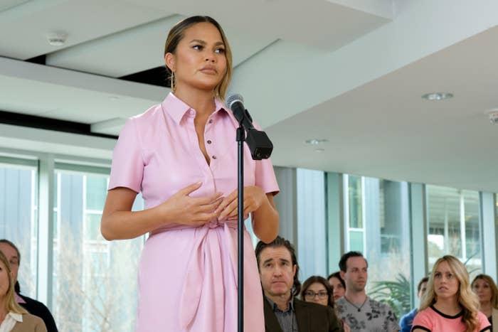 """Chrissy Teigen appears as herself in an episode of """"Mr. Mayor"""""""
