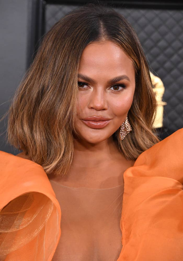 Chrissy Teigen arrives at the 62nd Annual GRAMMY Awards at Staples Center on January 26, 2020 in Los Angeles, California