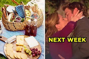 """On the left, a picnic basket topped with a charcuterie board and a picnic basket fulls of fruits and sandwiches, and on the right, Jim and Pam from """"The Office"""" kissing labeled """"next week"""""""