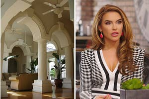 beautiful living room archways on the left and chrishell from selling sunset on the right