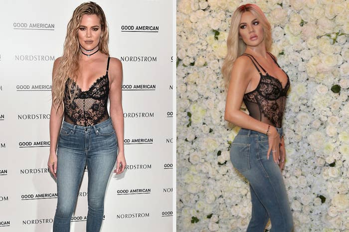 Real Khloe Kardashian on the left and wax figure Khloe Kardashian on the right