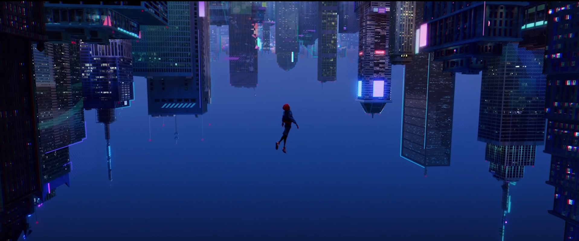 An shot of the NYC skyline turned upside down as Miles jumps off the roof of a building into the air.