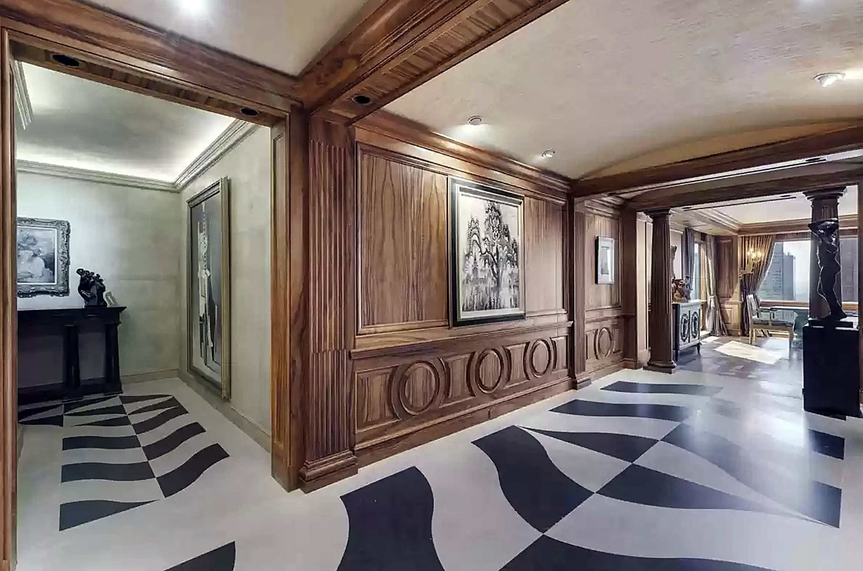 Two-toned floors and ornate artwork on the walls