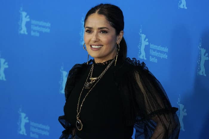 """Salma Hayek at the """"The Roads Not Taken"""" photo call during the 70th Berlinale International Film Festival Berlin at Grand Hyatt Hotel on February 26, 2020 in Berlin, Germany"""