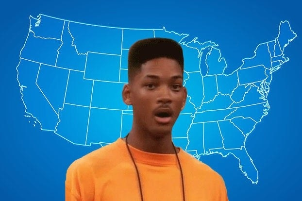 Will Smith from the Fresh Prince looking shocked over a map of the US