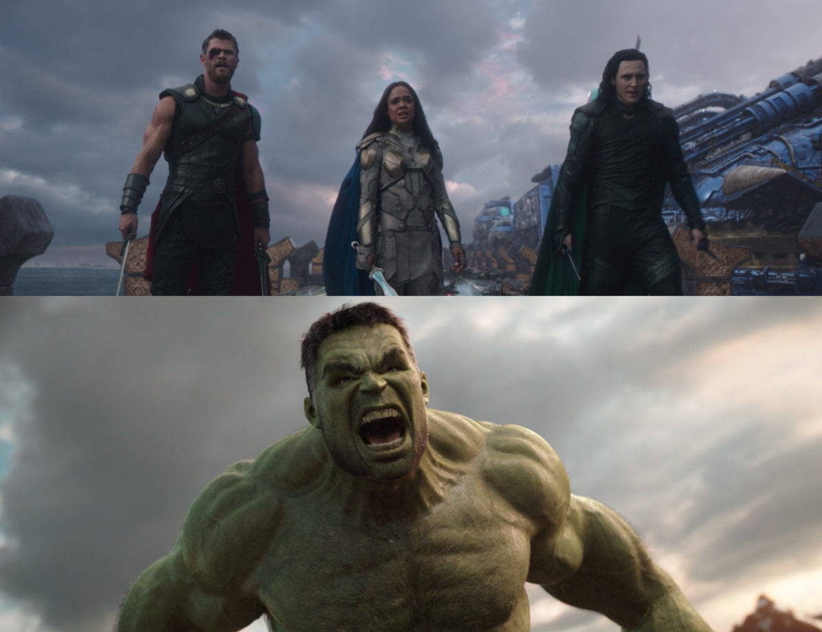 Thor, Valkyrie, and Loki stands in a line while holding various sword weapons. And the Hulk roars fiercely so the veins in his neck pop out.