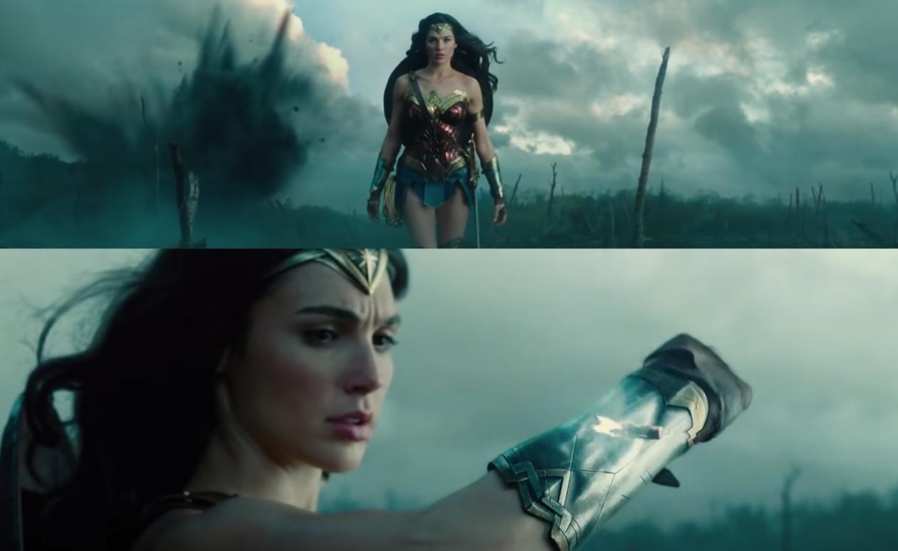 Wonder Woman walks across a gun riddled with gun fire and then she blocks a single bullet using her magic bracelets.