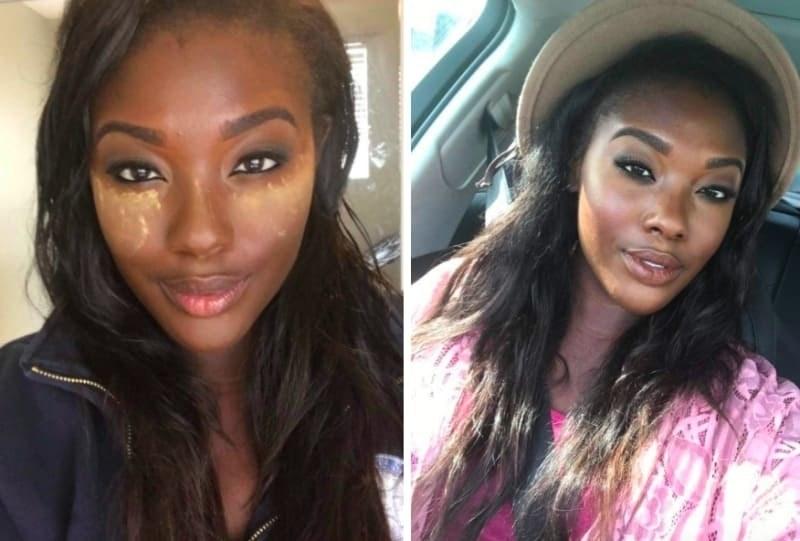 reviewer wearing the powder to set makeup