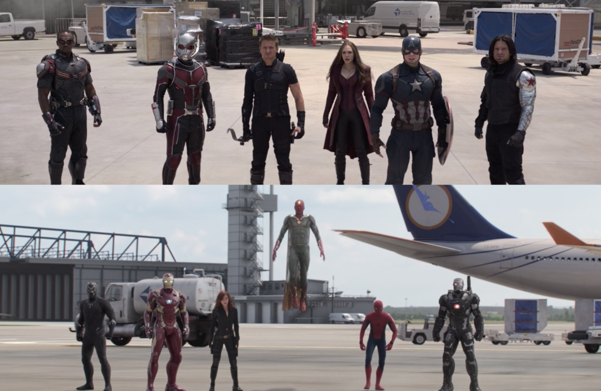 Captain America's team faces off against Iron Man's team in a deserted airport landing strip.