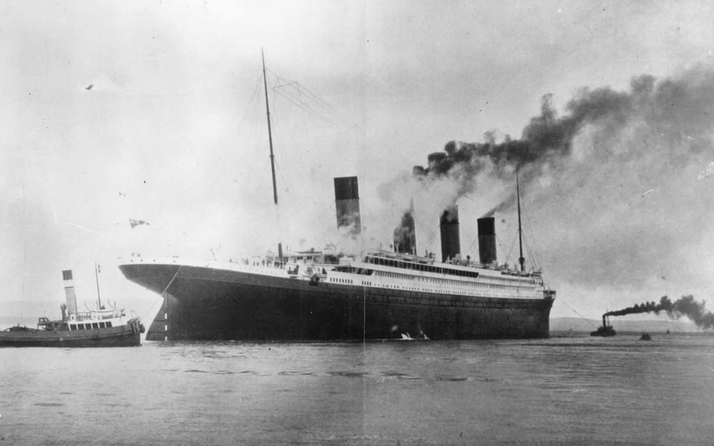 The 1,500,000 luxury White Star liner Titanic which sank on its maiden voyage to America in 1912, seen here on trials in Belfast Lough