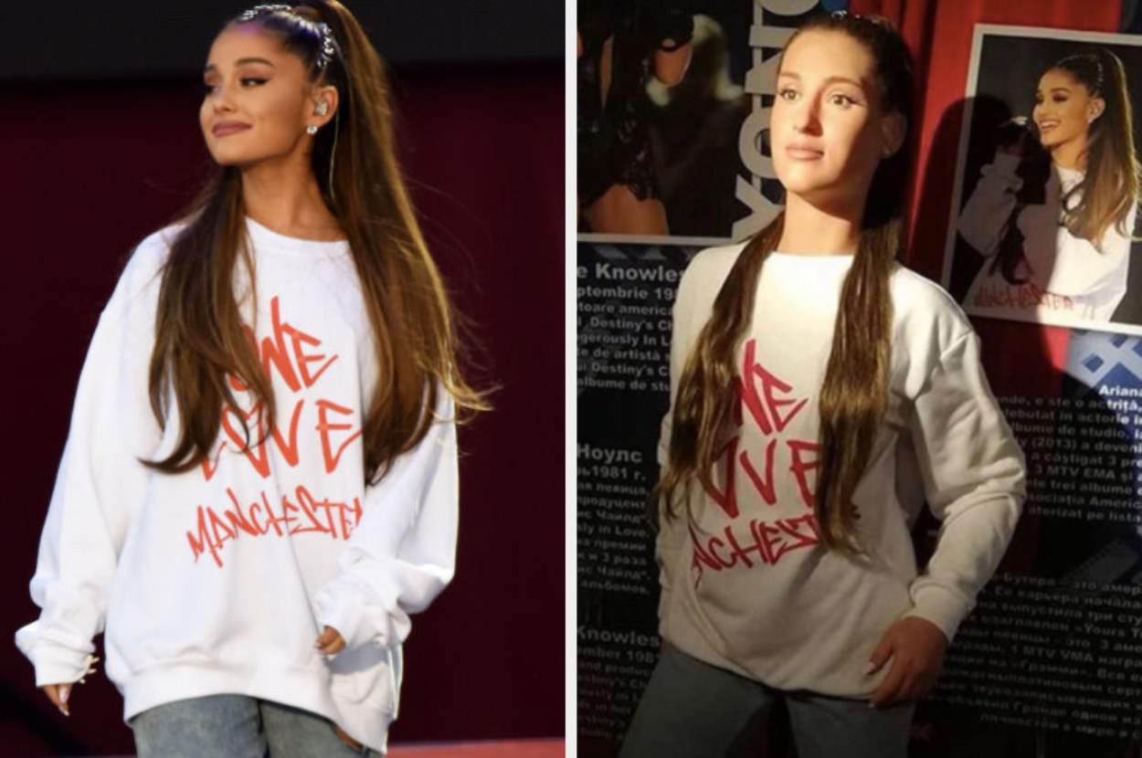 Real Ariana Grande on the left and one of her wax figures on the right, both wearing her One Love Manchester sweatshirt