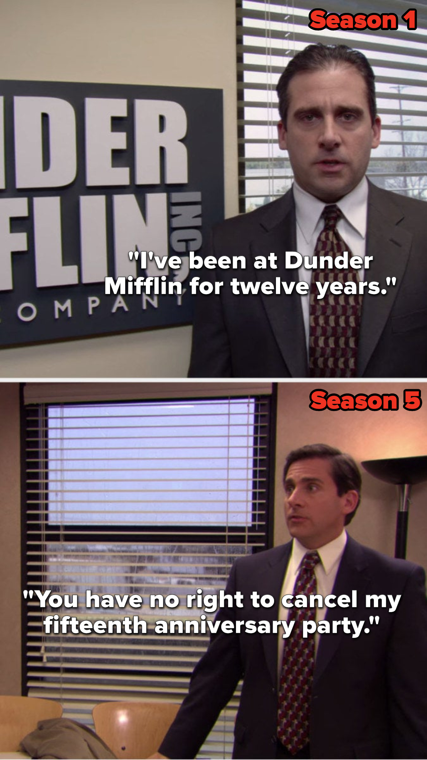 """In Season 1, Michael says, """"I've been at Dunder Mifflin for twelve years"""" and in Season 5 he says, """"You have no right to cancel my fifteenth anniversary party"""""""