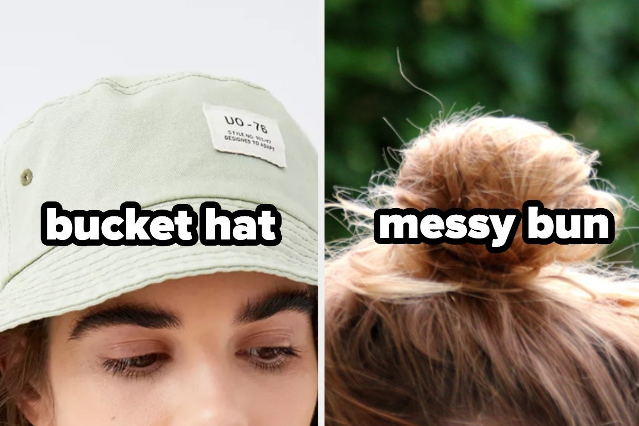 Bucket hat and messy bun