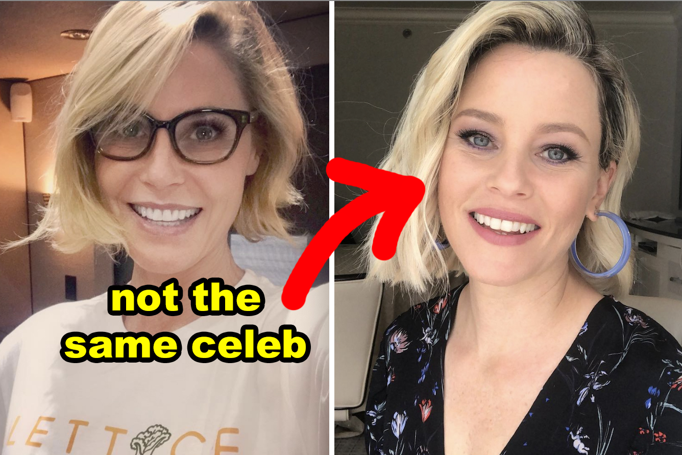 """Elizabeth Banks and Julie Bowen with the words """"Not the same celeb"""""""