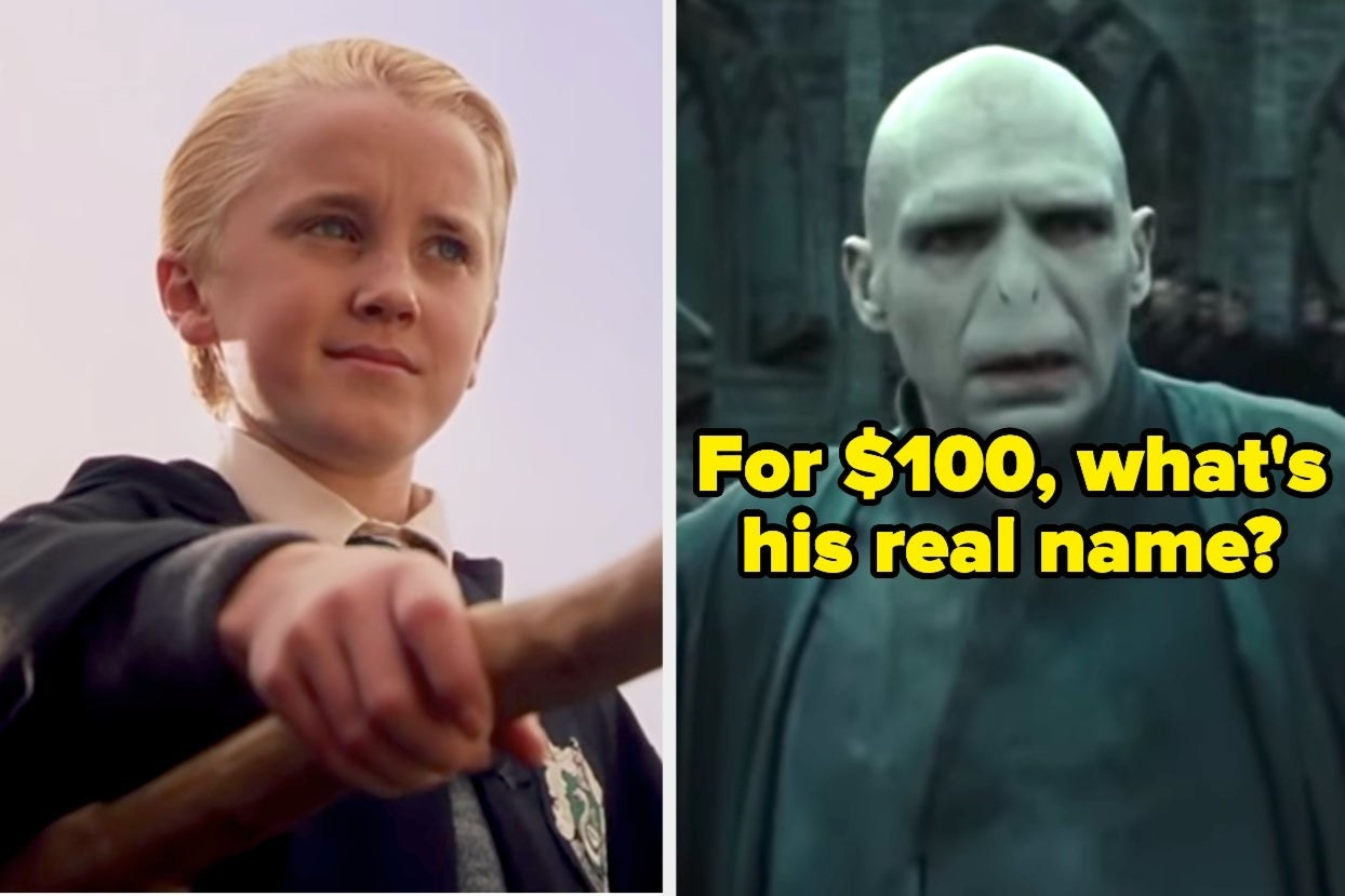 """Draco Malfoy and Voldemort with the words """"For $100, what's his real name?"""""""