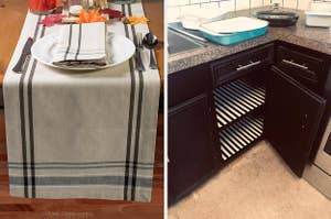 split thumbnail of runner on kitchen table, open kitchen cabinets with liner on the shelves