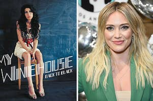 Amy Winehouse is on the left sitting on a stool with Hilary Duff on the right