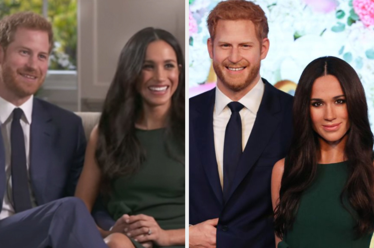 Prince Harry and Meghan Markle sitting on a couch during their engagement interview and their wax figures on the right