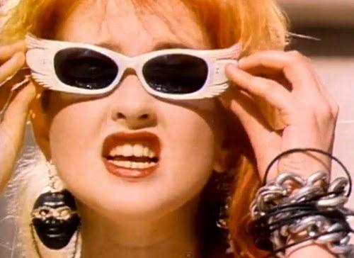 "Cyndi Lauper in her ""Girls Just Wanna Have Fun"" music video"