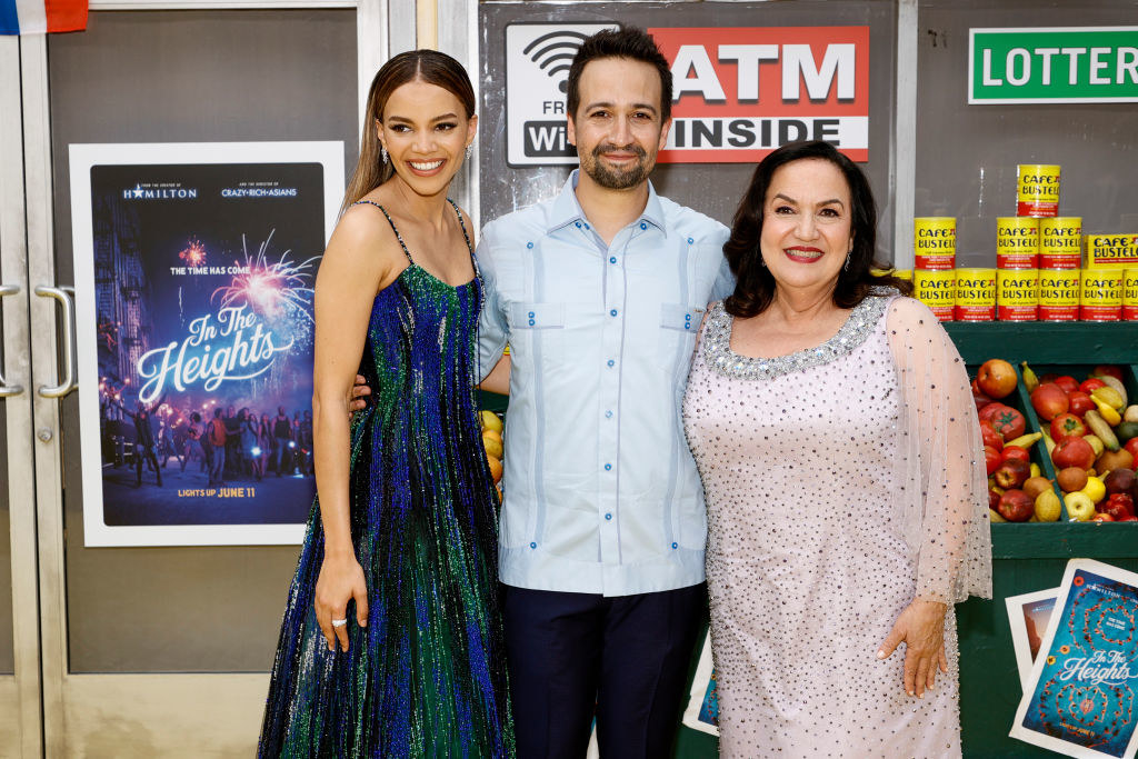 """Leslie Grace, Lin-Manuel Miranda and Olga Merediz attend the """"In The Heights"""" Opening Night Premiere"""