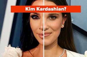 """Half of Kim Kardashian's face is on the left with half of Millie Bobby Brown on the right labeled, """"Kim Kardashian?"""""""