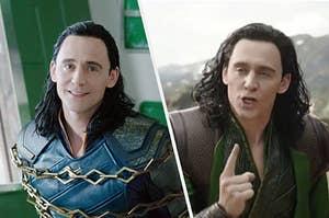 Loki smiling beside Loki yelling angrily