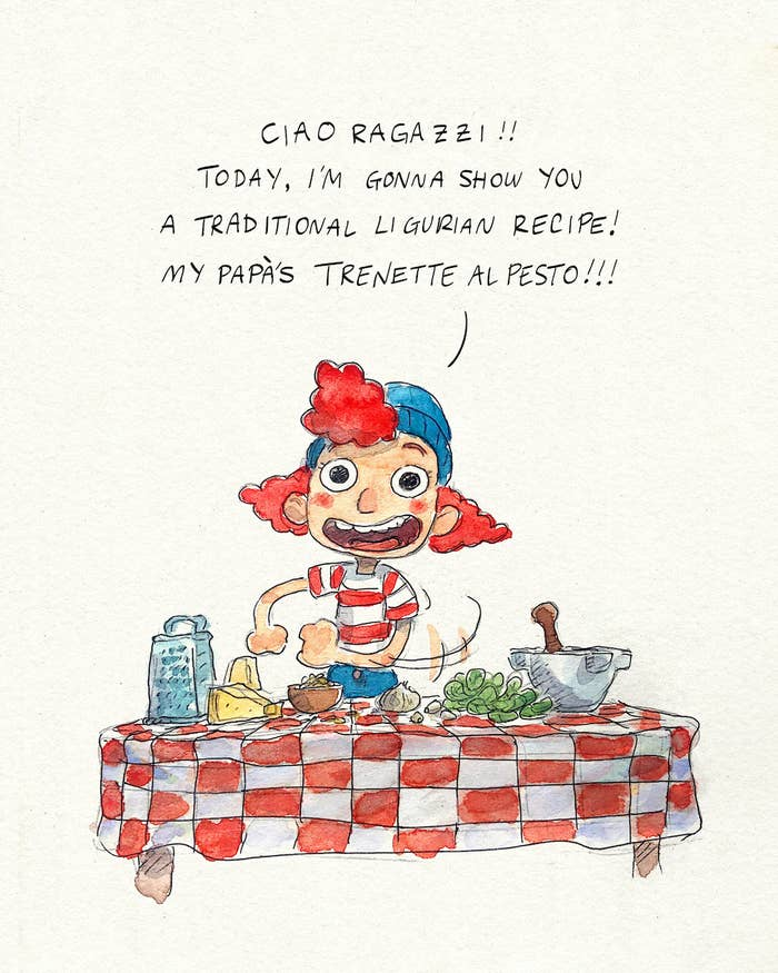 """An illustration of Giulia from the movie saying """"ciao ragazzi today I'm gonna show you a traditional ligurian recipe! My papa's trenette al pesto"""""""