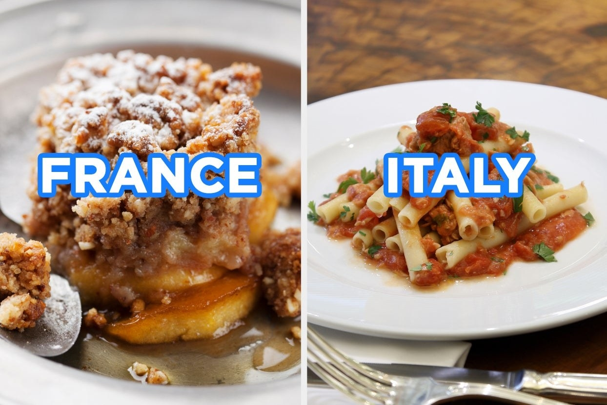 """On the left, a slice of apple crisp labeled """"France,"""" and on the right, some ziti with tomato sauce labeled """"Italy"""""""