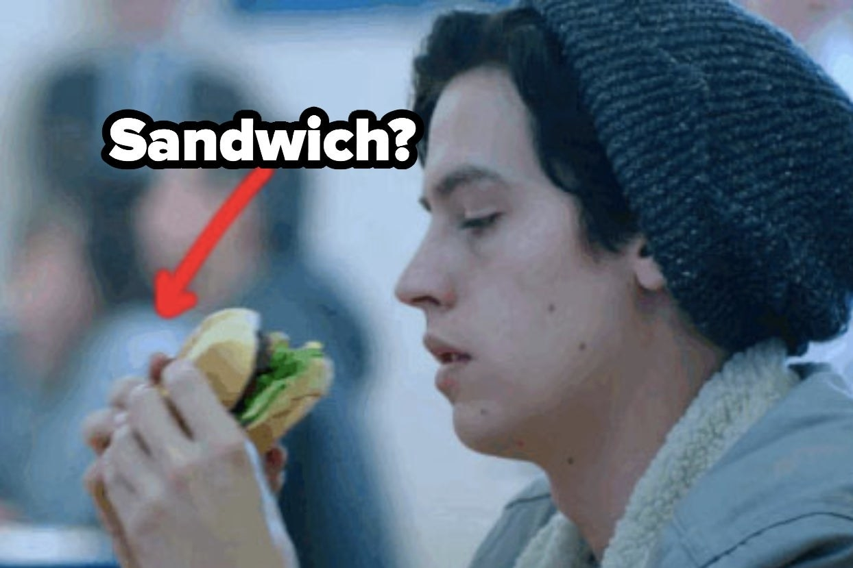 """Jughead eating some food on """"Riverdale"""" with the word """"sandwich?"""""""