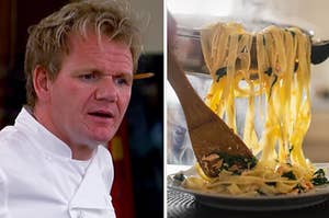 gordon ramsay on the left looking concerned and someone spooning pasta from a pan onto the plate on the right
