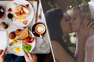 An overhead shot of two plates at brunch, one with eggs and toast and one with banana strawberry pancakes. Britney S. Pierce and Satana Lopez share a kiss on their wedding day.