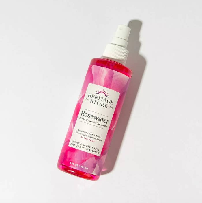 heritage store rosewater mist flat lay against white background