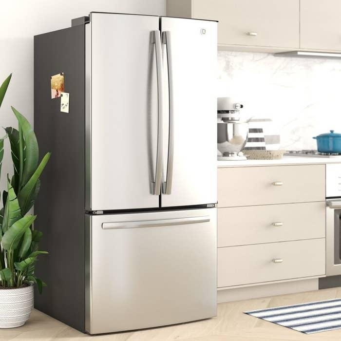 The stainless fridge