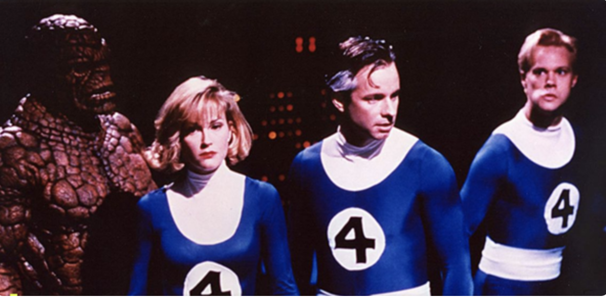 The cast of the original Fantastic Four in budget costumes