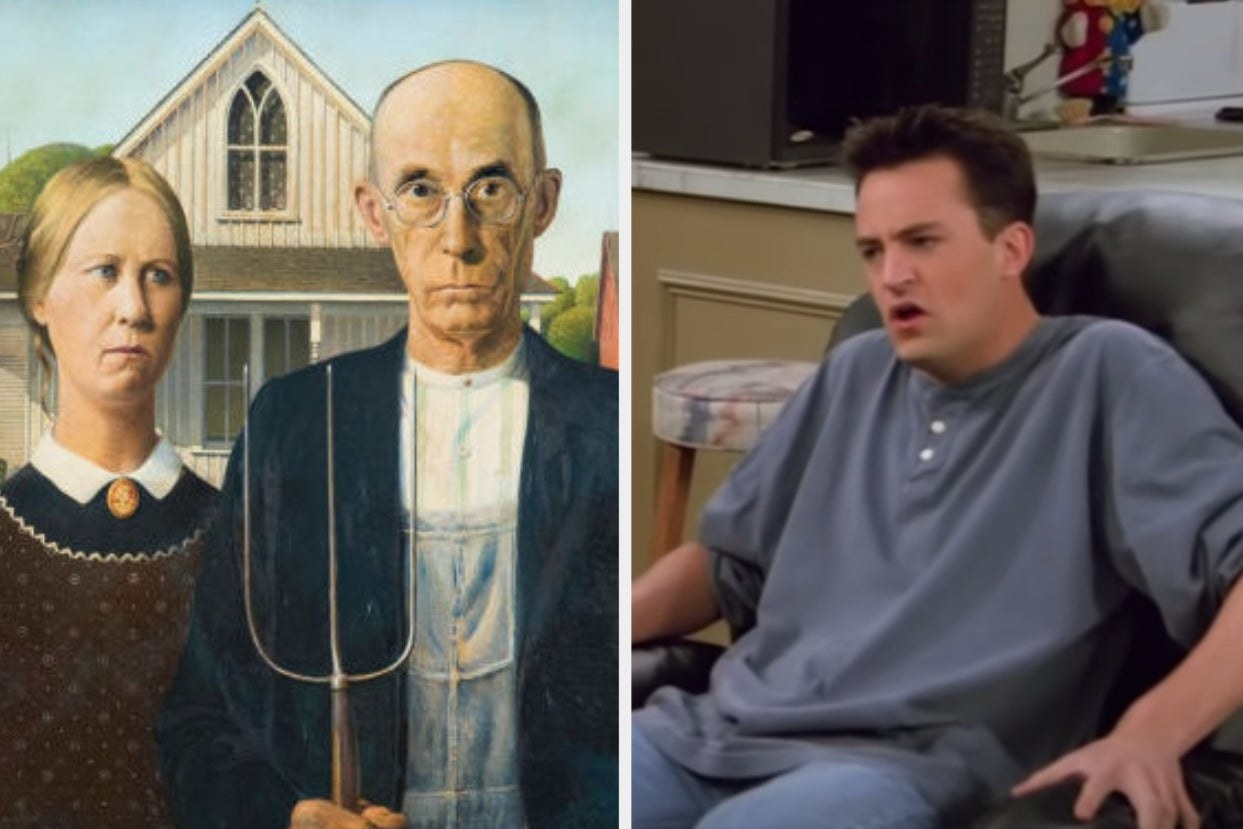 """American Gothic painting and Chandler from """"Friends"""""""