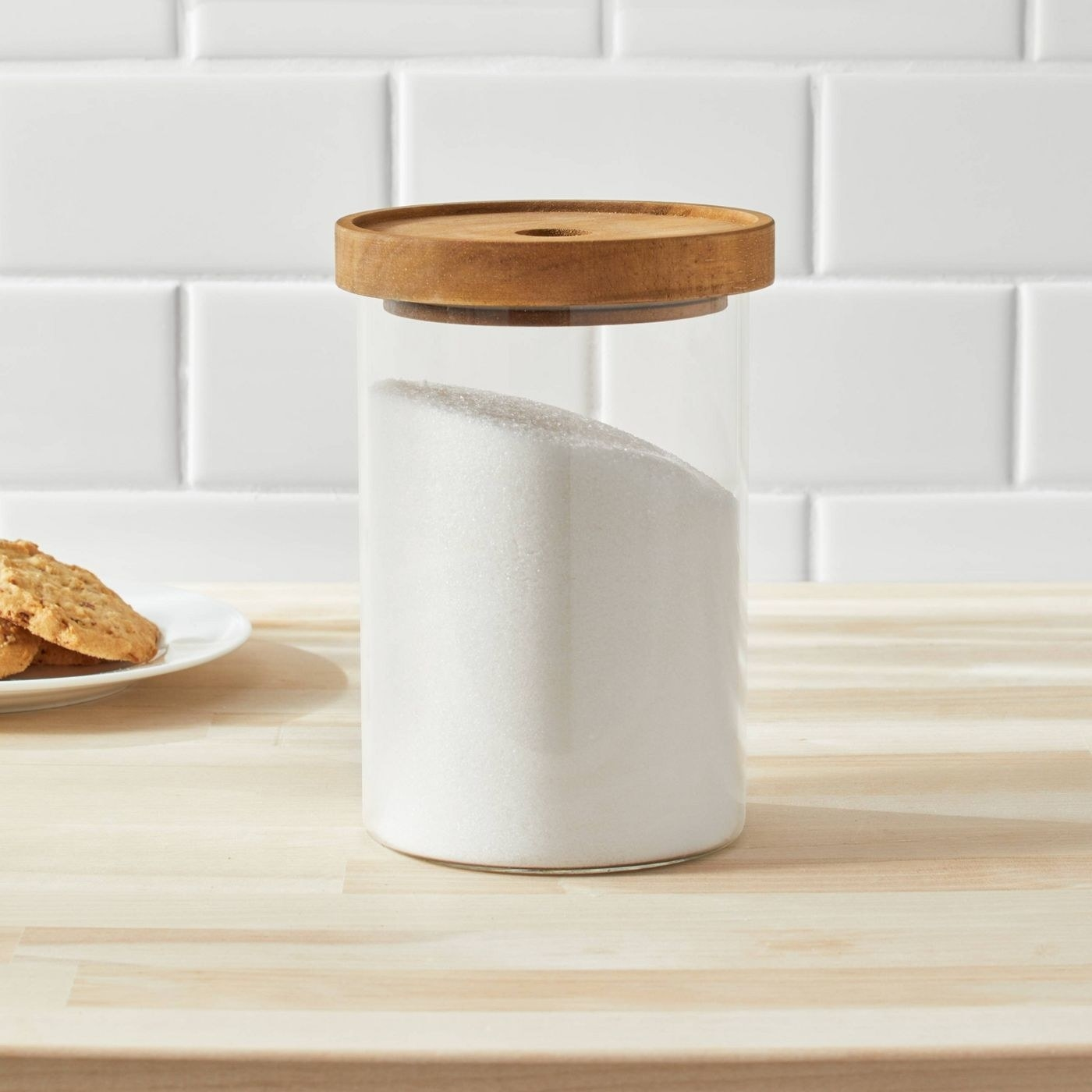 the canister on a counter